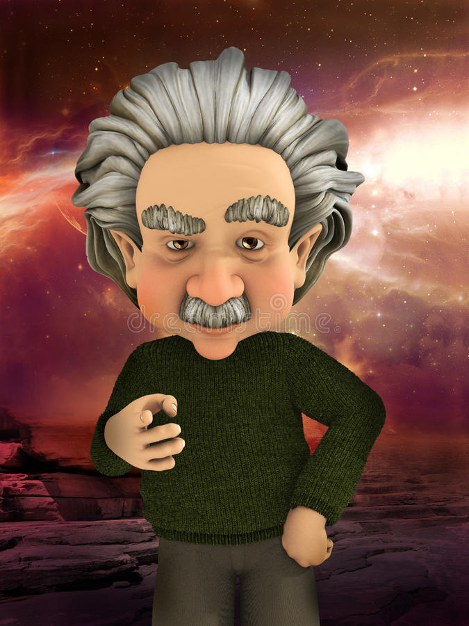 Científico Pointing Science Illustration de Einstein stock de ilustración