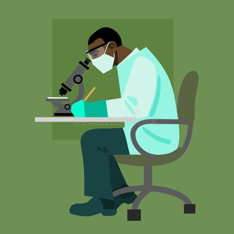 Científico que mira a través del microscopio libre illustration