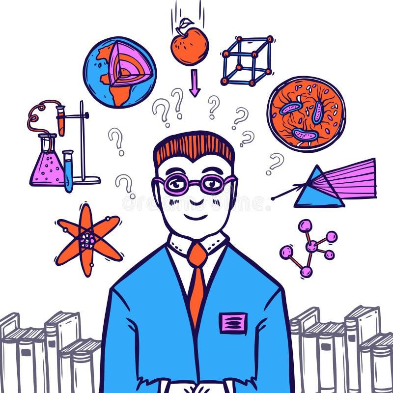 Científico Sketch Concept ilustración del vector