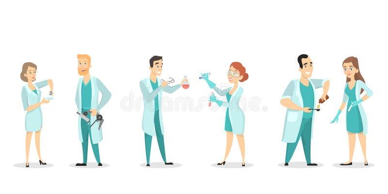 Científicos de la gente fijados ilustración del vector