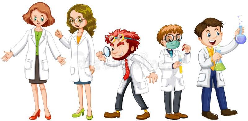 Científicos de sexo masculino y de sexo femenino en el vestido blanco stock de ilustración