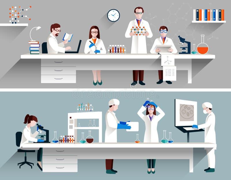 Científicos en concepto del laboratorio stock de ilustración