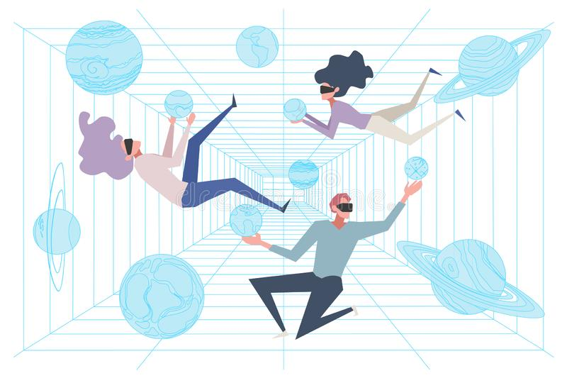 Científicos en el sitio de la simulación, ciberespacio, gente en las auriculares de AR que flotan en la gravedad cero, educación  stock de ilustración