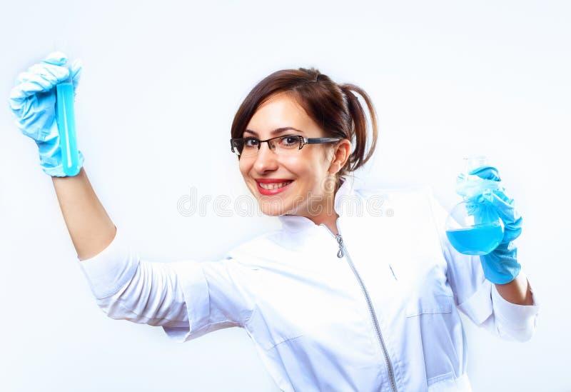 Científicos en laboratorio foto de archivo