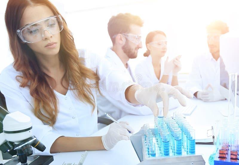 Científicos que examinan en el laboratorio con los tubos de ensayo imagenes de archivo