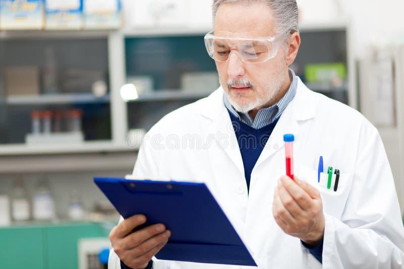 Científicos que examinan un tubo de ensayo foto de archivo libre de regalías