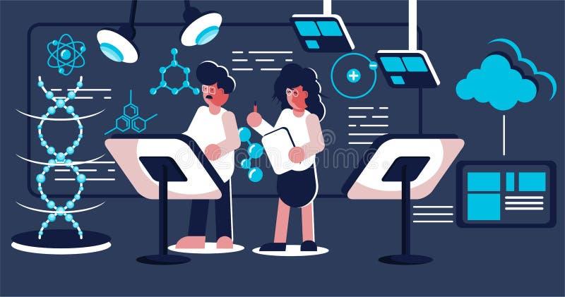 Científicos que hacen la investigación en el laboratorio libre illustration
