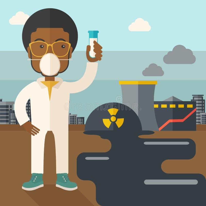 Cientista africano com máscara e tubo de ensaio ilustração do vetor