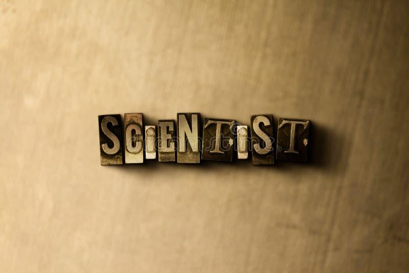 CIENTISTA - close-up vintage sujo da palavra typeset no contexto do metal ilustração royalty free