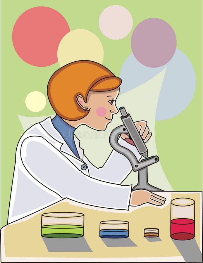 Cientista da mulher ilustração do vetor