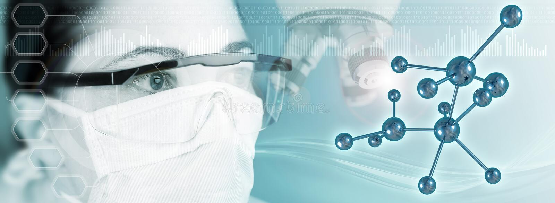 Cientista fêmea, microscópio e estrutura molecular no fundo azul imagem de stock royalty free