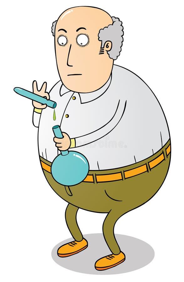 Cientista gordo idoso ilustração do vetor