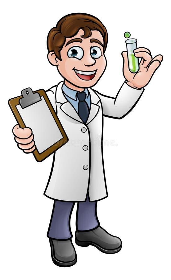 Cientista Holding Test Tube dos desenhos animados e prancheta ilustração stock