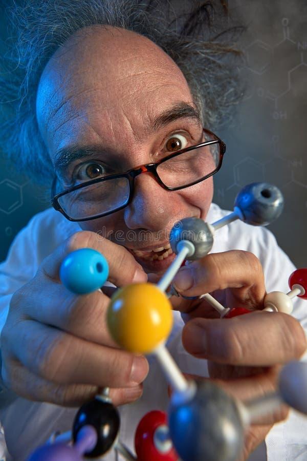 Cientista louco com moléculas modelo fotos de stock