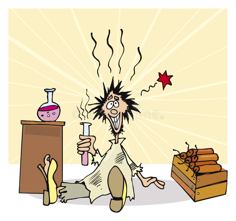 Cientista louco engraçado ilustração do vetor