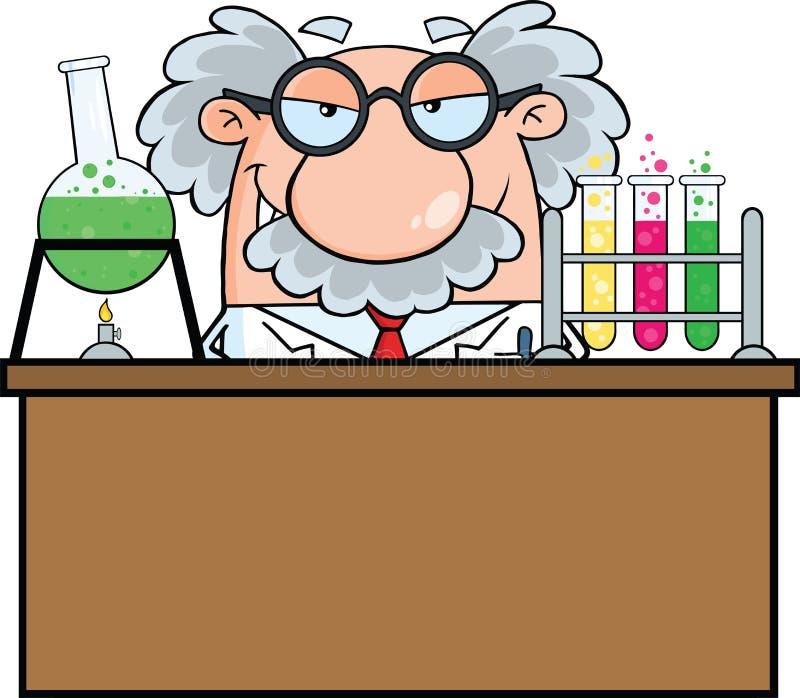 Cientista louco Or Professor In o laboratório ilustração royalty free