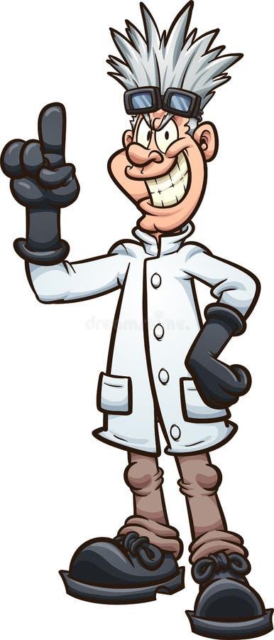 Cientista mau fino louco com dedo acima ilustração stock