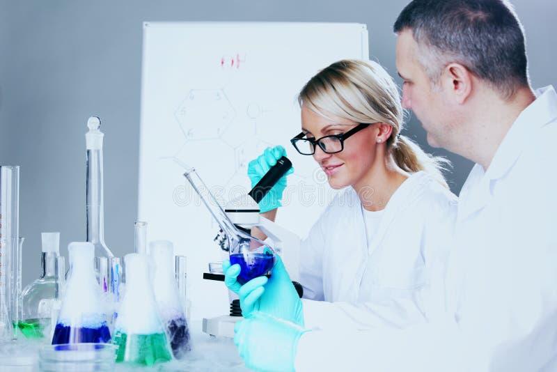 Cientista no laboratório químico imagem de stock