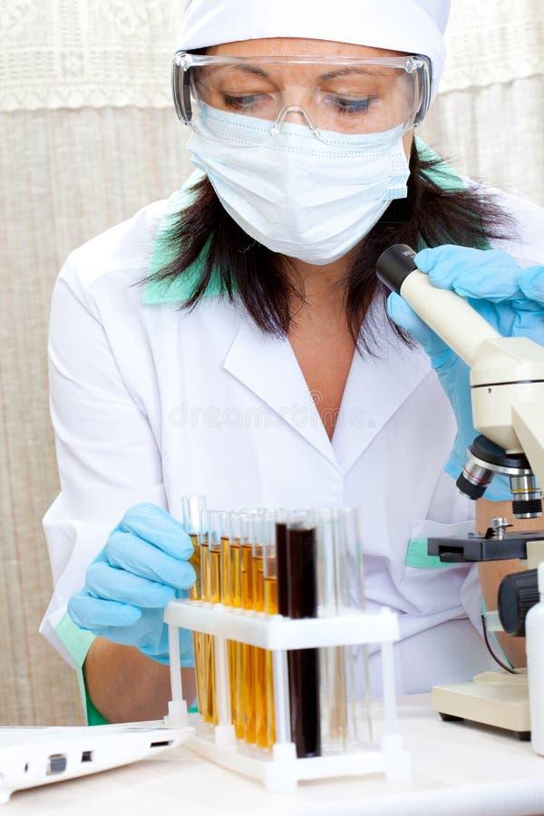 Cientista no laboratório que analisa o líquido amarelo no tubo de ensaio fotografia de stock