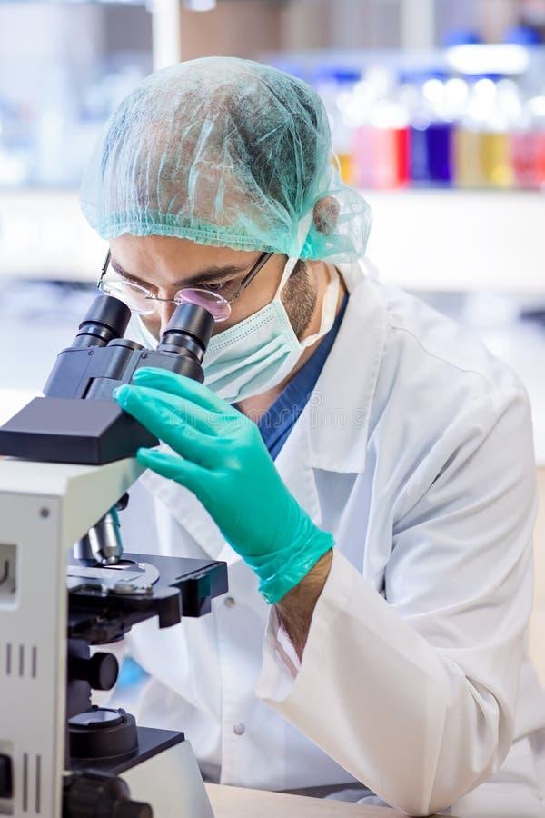 Cientista no trabalho em um laboratório químico. imagens de stock