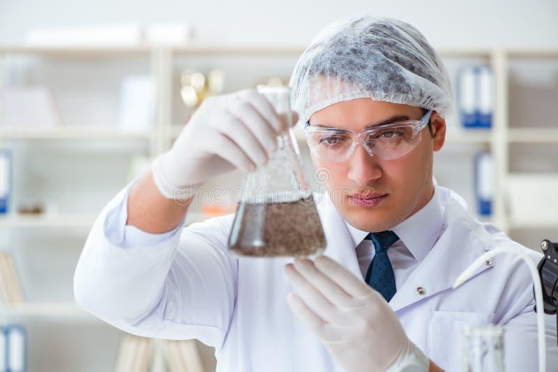 Cientista novo do pesquisador que faz um expe da contaminação do teste de água fotos de stock royalty free
