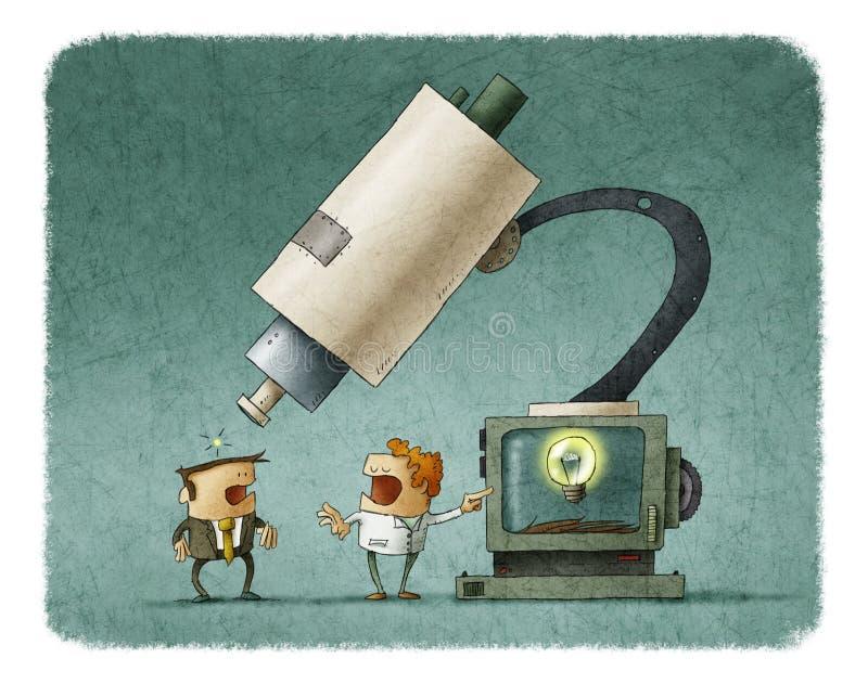 Cientista que mostra uma ideia no monitor que usa o microscópio ilustração do vetor