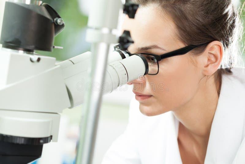 Cientista que olha através do microscópio fotografia de stock royalty free