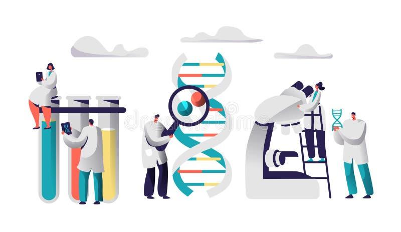 Cientista Team Research Medicine na imagem química do laboratório A fêmea no vestido médico senta-se no tubo de ensaio com tabule ilustração stock