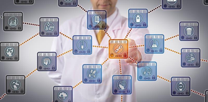 Cientista Tracking Supply Chain de Pharma através de DLT ilustração stock
