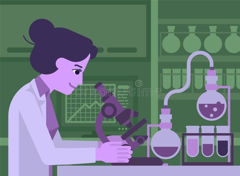 Cientista Working da mulher no laborat?rio ilustração royalty free