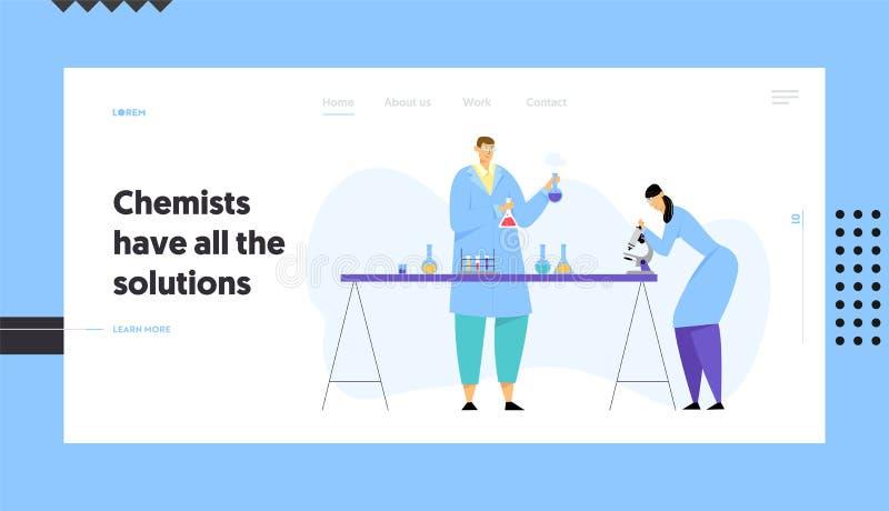 Cientistas da química que conduzem a experiência no laboratório de ciência, homem que guarda o técnico Look da mulher das garrafa ilustração do vetor