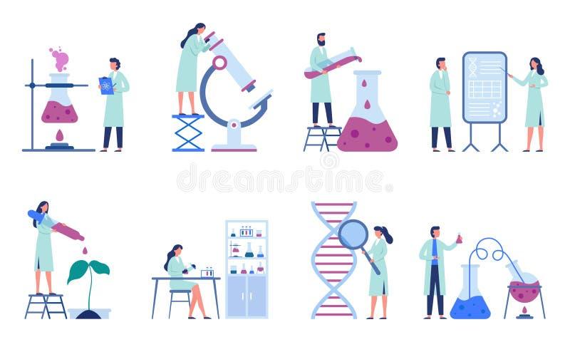 Cientistas de trabalho Pesquisa profissional do laboratório, técnicos de laboratório da química e vetor liso dos pesquisadores da ilustração stock