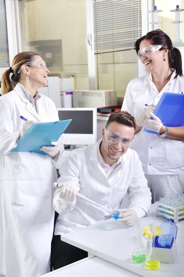 Cientistas novos atrativos dos alunos de doutorado no laboratório fotos de stock