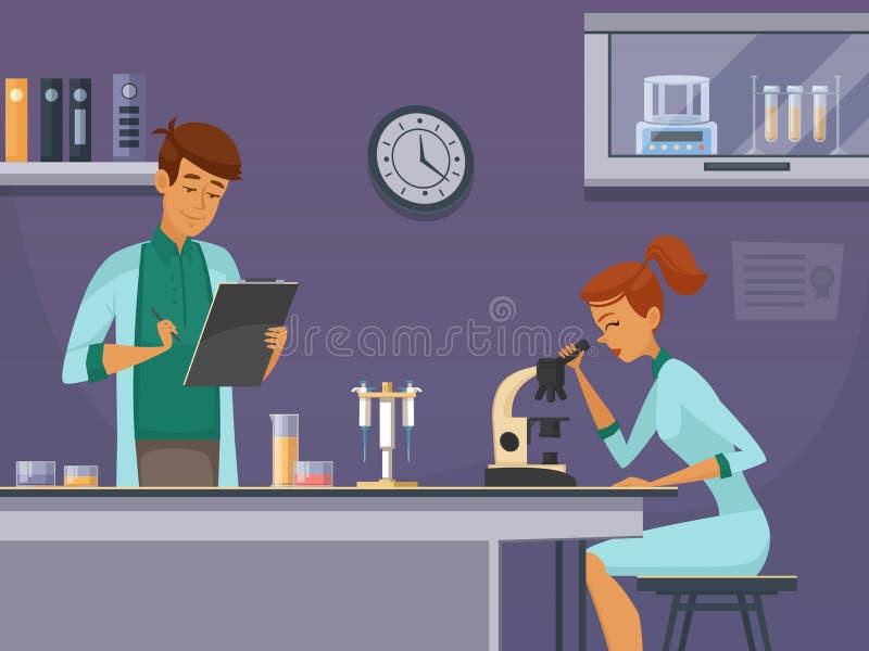 Cientistas novos no cartaz da composição do laboratório ilustração royalty free