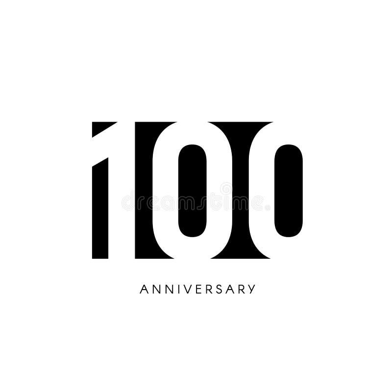 Cientos aniversarios, logotipo minimalistic Un centésimos años, 100o jubileo, tarjeta de felicitación Invitación del cumpleaños 1 libre illustration