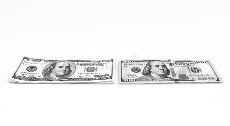 Cientos billetes de banco del dólar Dólares de concepto del primer americano imágenes de archivo libres de regalías