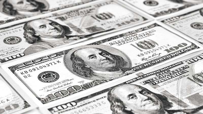 Cientos billetes de banco del dólar Dólares de concepto del primer americano imagen de archivo libre de regalías