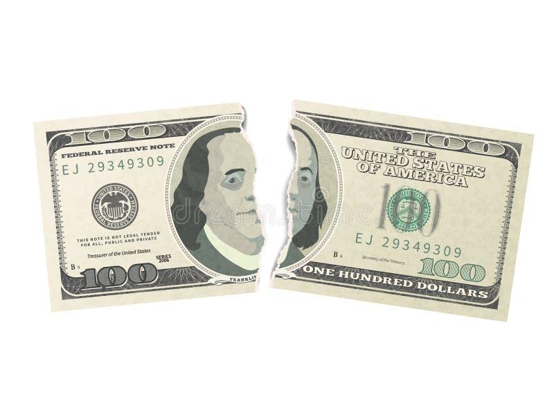 Cientos billetes de banco verdes falso de los dólares de los E.E.U.U. rasgados en dos pedazos en blanco libre illustration