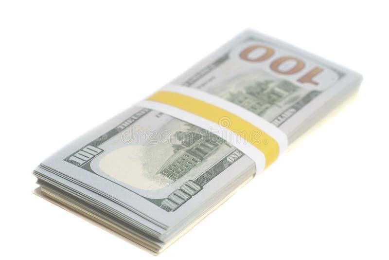 Cientos billetes de dólar con la cinta imagen de archivo libre de regalías