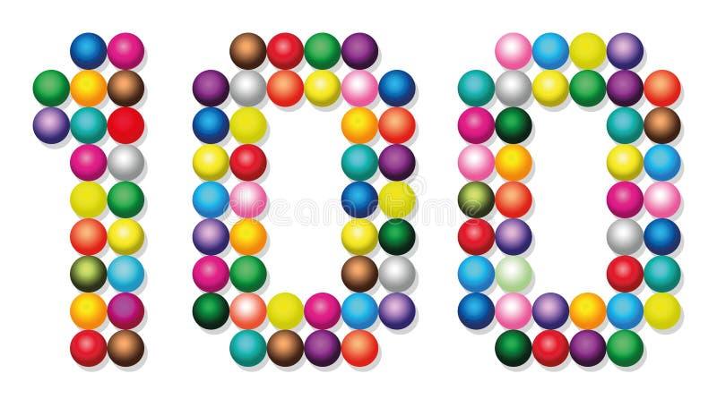 Cientos bolas Dots Points Colors Number White stock de ilustración