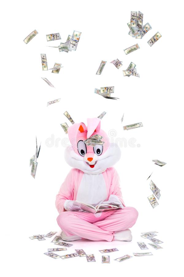 Cientos caídas del dinero de los billetes de dólar del cielo Persona afortunada debajo de la lluvia de dólares El hombre de negoc foto de archivo libre de regalías