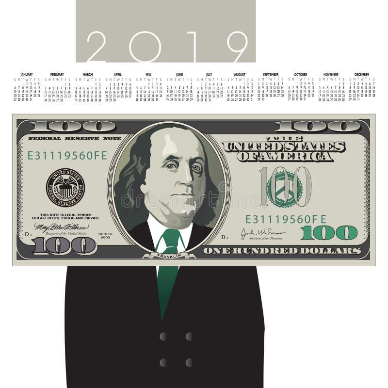 2019 cientos calendarios del billete de dólar stock de ilustración