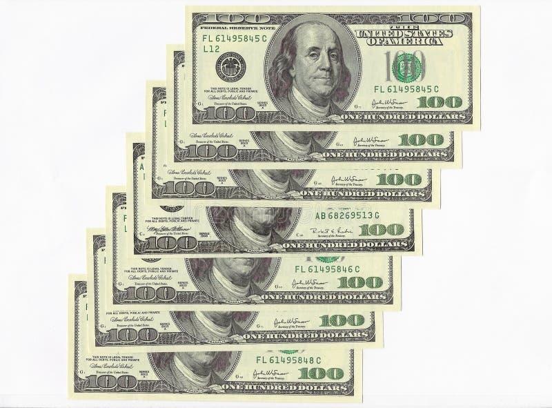 Cientos cuentas de dólar. fotos de archivo libres de regalías