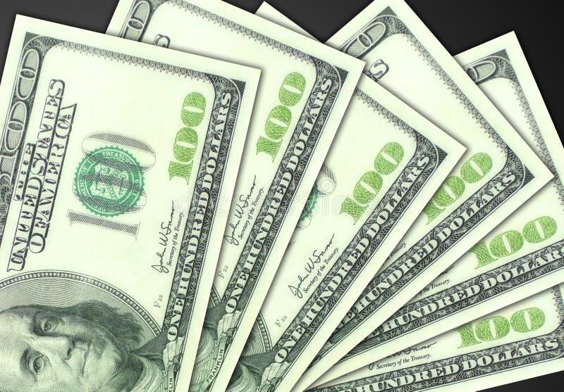 Cientos cuentas de dólar foto de archivo libre de regalías