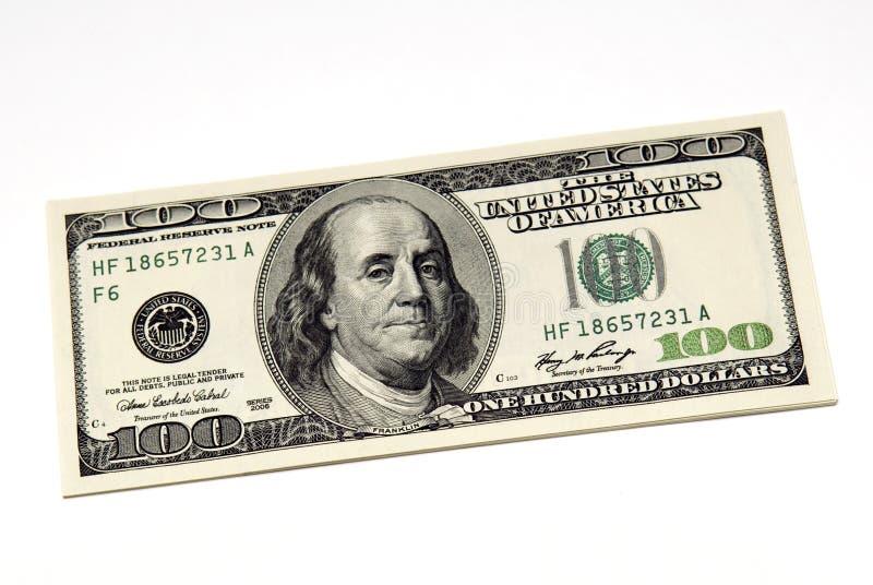 Cientos cuentas de dólar fotos de archivo