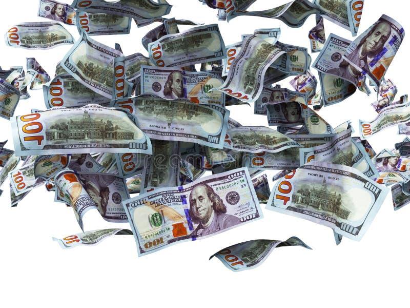 Cientos dólares de billetes de banco que caen al 3d de tierra no rinden en el fondo blanco ninguna sombra ilustración del vector