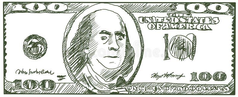 Cientos dólares de los E.E.U.U. Bosquejo por un bolígrafo libre illustration