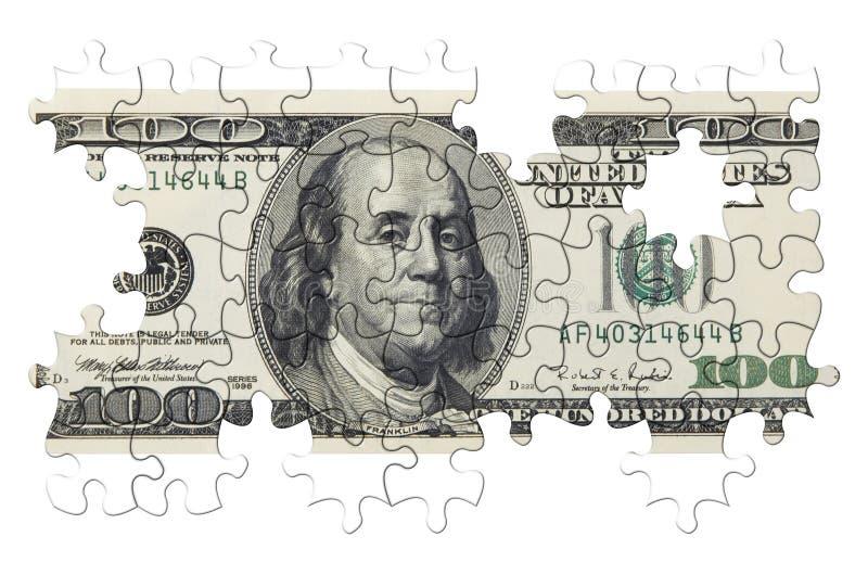 Cientos dólares de rompecabezas (aislado) stock de ilustración