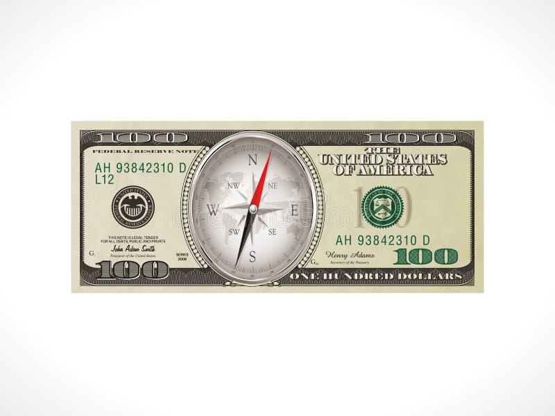 Cientos dólares - moneda de Estados Unidos - dirección correcta para invertir concepto del dinero ilustración del vector