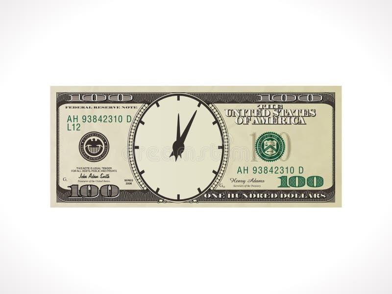 Cientos dólares - moneda de Estados Unidos - el tiempo es oro concepto stock de ilustración